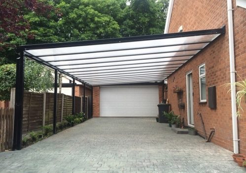 Full shot of of a black aluminium carport