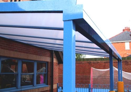 Close up of blue aluminium carport
